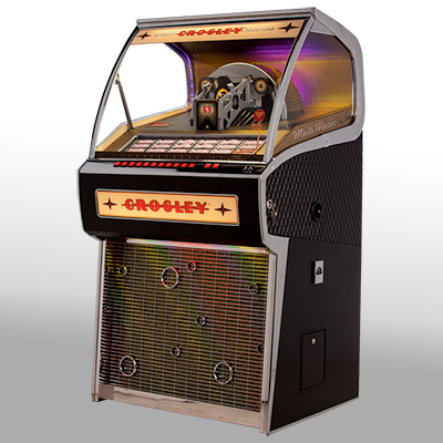 CROSLEY<sup>&reg;</sup> Vinyl Rocket Jukebox - This vinyl-playing jukebox is the only one being manufactured in the world.  Holds 70 45's and can play both A and B sides. Record selections can be made directly from the button bank or via remote control. A Bluetooth receiver gives you the ability to stream digital music from a compatible device. Also features a D4 amplifier and five-way built speaker system.
