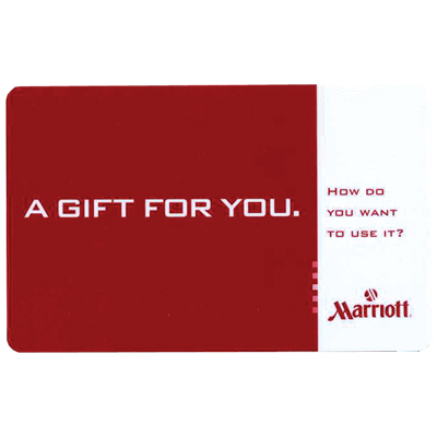 MARRIOTT<sup>®</sup> $100 Gift Card - Enjoy a host of services from accommodations to dining or merchandise from ShopMarriott.com with this $100 gift card.