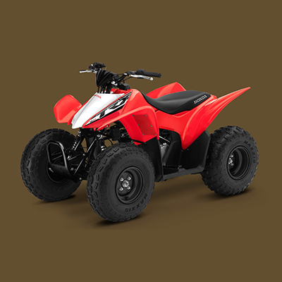 HONDA<sup>®</sup> TRX90X - Designed to be beginner-friendly but with enough performance to please more experienced riders, the TR90X ATV will begin your journey of off-road recreation. Air-cooled four-stroke engine, electric starting, manageable power and compliant suspension handles even the most demanding conditions.  Includes 4-speed transmission with auto-clutch, independent A-arms front suspension and swingarm rear suspension.  8.3' turning radius and 17 gallon fuel capacity.